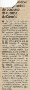 """Recorte de prensa de 1987: 2º Premio en el VII Concurso de Cuentos de Carreño a Pedro Martínez Rayón por """"Dónde están los brazos de Venus"""""""